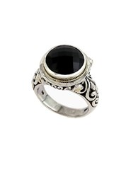 Effy Balissima 18 Kt. Yellow Gold And Sterling Silver Onyx Ring