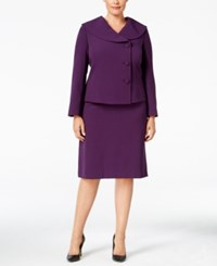 Tahari By Arthur S. Levine Asl Plus Size Three Button Shawl Collar Skirt Suit Aubergine