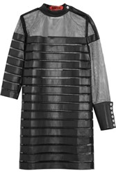 Ronald Van Der Kemp Paneled Leather And Mesh Mini Dress Black