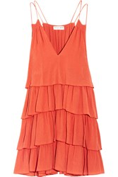 Apiece Apart Canyons Tiered Ruffled Silk Crepon Mini Dress Coral