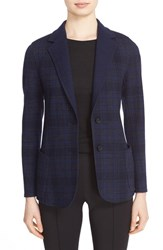 Akris Women's Check Print Reversible Wool Jersey Jacket