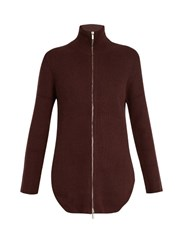 Raey Zip Through Ribbed Knit Cashmere Sweater Burgundy