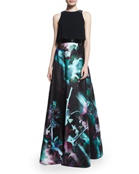 Theia Sleeveless Two Piece Full Skirt Gown