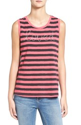 Sundry Women's 'Loved' Embroidered Stripe Muscle Tank