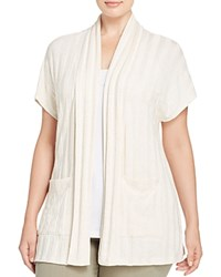 B Collection By Bobeau Curvy Larken Ribbed Short Sleeve Cardigan Natural