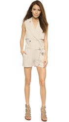 Haute Hippie Spring Suiting Trench Romper Buff