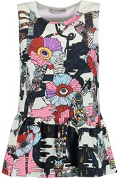 Mary Katrantzou Printed Stretch Jersey Peplum Top Green