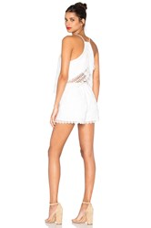 J.O.A. Sleeveless V Neck Lace Romper White