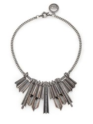 Giles And Brother Ray Burst Pave Crystal Bib Necklace Silver