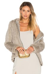 Adrienne Landau Knit Rabbit Fur Hoodie Light Gray