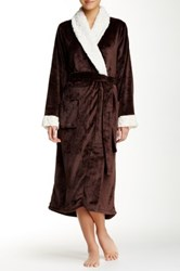 Shimera Faux Fur Trim Plush Robe Brown