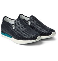 Bottega Veneta Intrecciato Leather Slip On Sneakers Navy