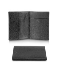 Pineider Country Genuine Leather Passport Holder Black