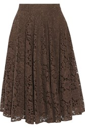 Dolce And Gabbana Cotton Blend Corded Lace Skirt Dark Brown