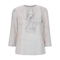People Tree Gaby Ruffle Print Blouse Pale Pink
