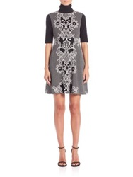 Abs By Allen Schwartz Jacquard Knit Babydoll Dress Black White
