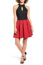 Speechless Women's Keyhole Neck Skater Dress