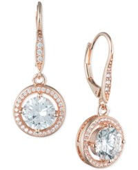 Anne Klein Round Crystal And Pave Drop Earrings Rose Gold