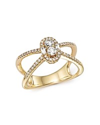 Bloomingdale's Diamond Cluster X Band Ring In 14K Yellow Gold .50 Ct. T.W. White Gold