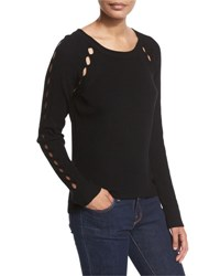 Milly Ribbed Pointelle Inset Sweater Black