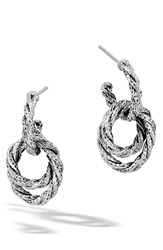 John Hardy 'Classic Chain' Double Twisted Hoop Earrings Silver