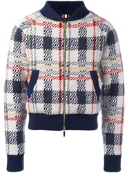 Thom Browne Checked Knit Bomber Jacket Multicolour