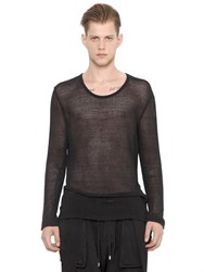 Balmain Mesh Cotton And Linen Long Sleeve T Shirt