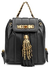 Moschino Leather Backpack With Gilded Hardware Black