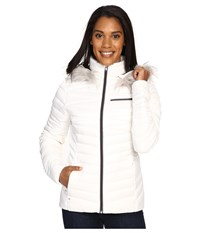 Spyder Timeless Hoodie Faux Fur Down Jacket White Weld Women's Coat