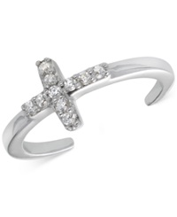 B. Brilliant Cubic Zirconia Cross Toe Ring In Sterling Silver