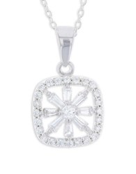 Lord And Taylor Cubic Zirconia Sterling Silver Paved Open Square Pendant Necklace