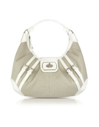 Buti White Patent Leather And Canvas Hobo Bag