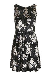 Topshop Floral Low Back Skater Dress Black