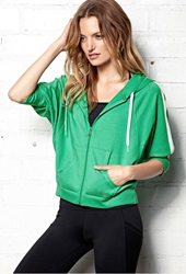Forever 21 French Terry Athletic Hoodie Jade Mint