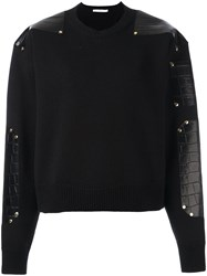 Givenchy Leather Patch Knitted Sweater Black