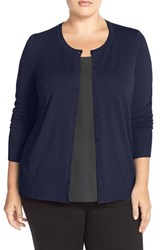 Plus Size Women's Sejour Crewneck Cardigan Navy Peacoat