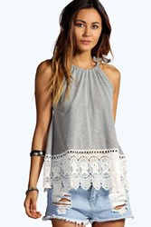Boohoo Halter Crochet Trim Top Grey Marl
