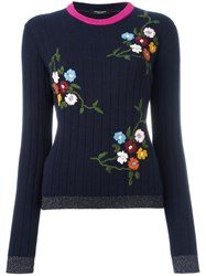 Roberto Collina Floral Embroidery Jumper Blue