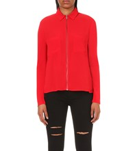 The Kooples Zipped Crepe And Jersey Blend Shirt Red