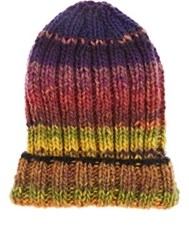 Grevi Men's Ombre Striped Wool Blend Cap No Color