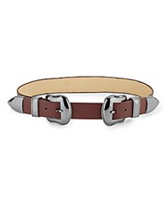 Vince Camuto Buckled Leather Belt Burgundy