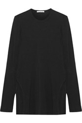 James Perse Brushed Cotton Blend Jersey Top Black