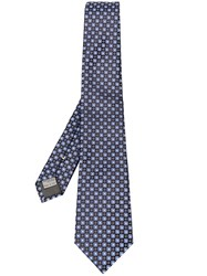 Canali Floral Embroidered Tie Blue