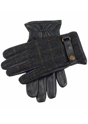 Dents Edinburgh Flannel And Leather Gloves Navy