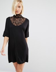 Y.A.S Busy Victorian High Neck Lacey Dress Black