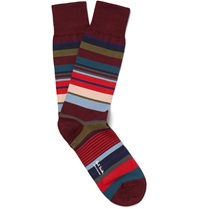 Paul Smith Striped Cotton Blend Socks Red
