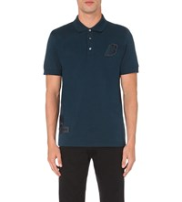 Brioni Logo Detail Cotton Jersey Polo Shirt Teal