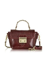 Roccobarocco Mini Croco Embossed Eco Leather Shoulder Bag Burgundy