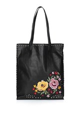 Topshop Tango Embroidered Shopper Black