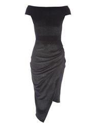 Jane Norman Velour Bardot Dress Black Multi